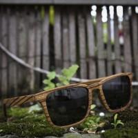 Square Wayfarer Small Zebra Wood Sunglasses