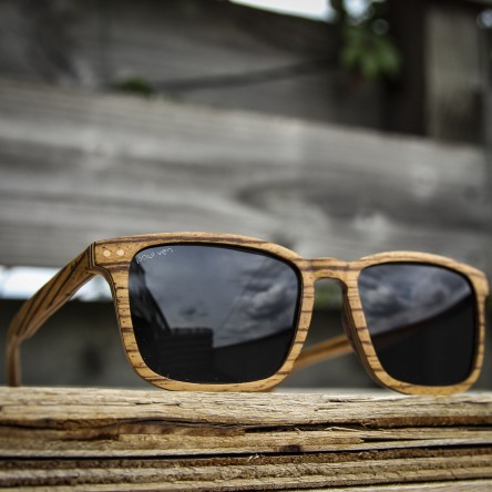 Square Wayfarer Small Zebra Wood Sunglasses