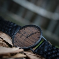 Wood and Steel Watch, Black with Black, Braided Leather Strap