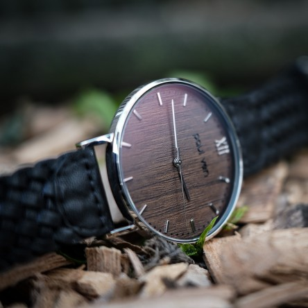 Wood and Steel Watch, Silver with Black, Braided Leather Strap