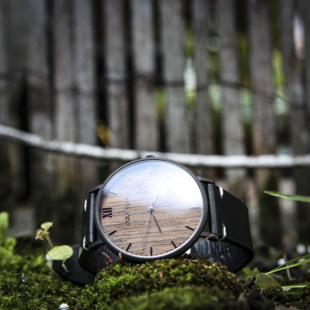 Wood and Steel Watch, Black Matte with Black Leather Strap And White Stitches