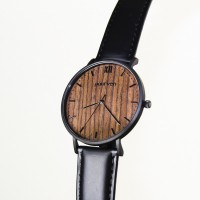 Wood and Steel Watch, Black With Black Leather Strap