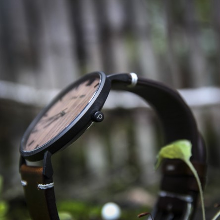 Wood and Steel Watch, Black Matte with Dark Brown Leather Strap And White Stitches