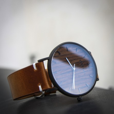 Wood and Steel Watch, Black Matte with Brown Leather Strap And White Stitches