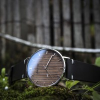 Wood and Steel Watch, Silver with Black Leather Strap And White Stitches