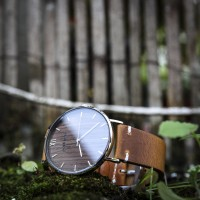 Wood and Steel Watch, Silver with Brown Leather Strap And White Stitches