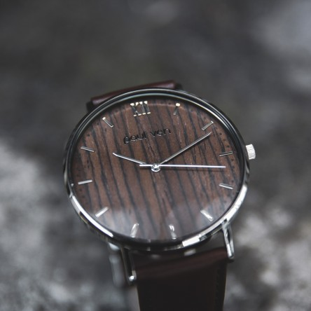 Wood and Steel Watch, Silver with Brown Leather Strap