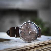 Wood and Steel Watch, Silver with Dark Brown Leather Strap And White Stitches