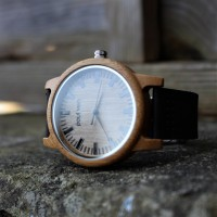 Liberty Wood Watch - Bamboo Wood Watch With Leather Original Black Strap