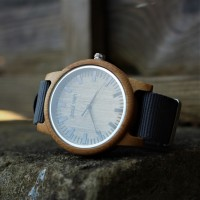 Liberty Wood Watch - Bamboo Wood Watch With Grey Canvas Nato Strap