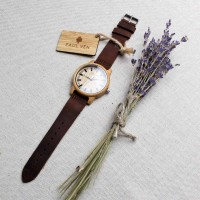 Liberty Wood Watch - Bamboo Wood Watch With Brown Leather Strap