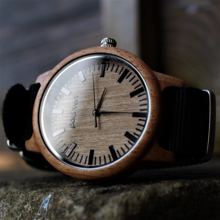Liberty Wood Watch - Oak Wood Watch With Black Canvas Nato Strap