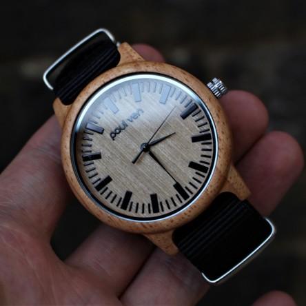 Liberty Wood Watch - Oak Wood Watch With Black Canvas Nato Strap