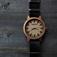 Liberty Wood Watch - Oak Wood Watch With BLCK Faux Leather Nato Strap