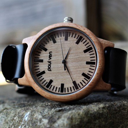 Liberty Wood Watch - Oak Wood Watch With BLCK Faux Leather Nato Strap