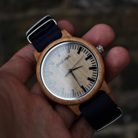 Liberty Wood Watch - Oak Wood Watch With Blue Canvas Nato Strap
