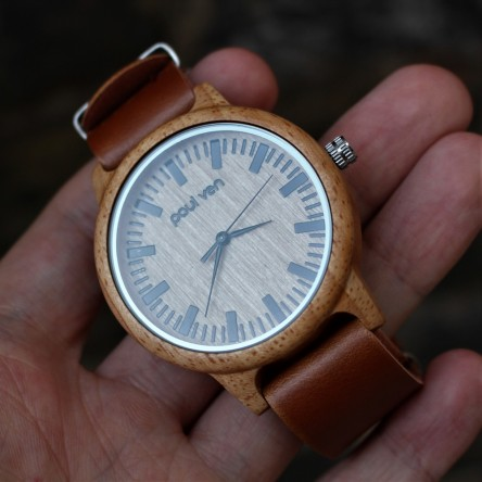 Liberty Wood Watch - Oak Wood Watch With BRWN Faux Leather Nato Strap