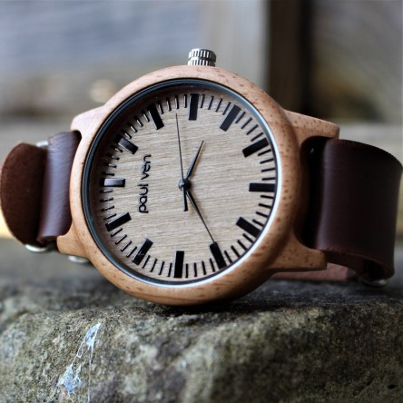 Liberty Wood Watch - Oak Wood Watch With DRK Faux Leather Nato Strap