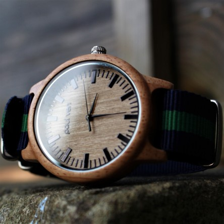 Liberty Wood Watch - Oak Wood Watch With Forest Canvas Nato Strap