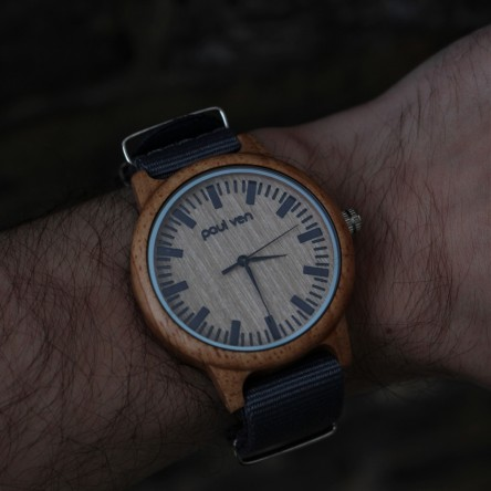 Liberty Wood Watch - Oak Wood Watch With Grey Canvas Nato Strap
