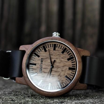 Liberty Wood Watch - Walnut Wood Watch, Walnut Dial With Black, Faux Leather Strap