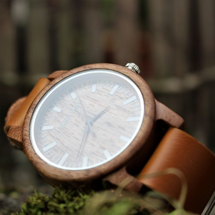 Liberty Wood Watch - Walnut Wood Watch, Walnut Dial With Brown, Faux Leather Strap