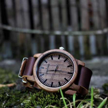 Liberty Wood Watch - Walnut Wood Watch, Walnut Dial With Dark Brown, Faux Leather Strap