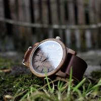 Liberty Wood Watch - Walnut Wood Watch, Walnut Dial With Dark Brown, Faux Leather Strap