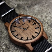 Liberty Wood Watch - Walnut Wood Watch With Canvas Black Strap