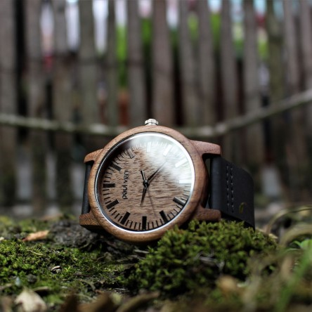 Liberty Wood Watch - Walnut Wood Watch With Black Leather Strap