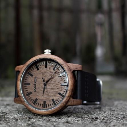 Liberty Wood Watch - Walnut Wood Watch With Black Leather Strap