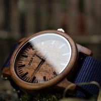 Liberty Wood Watch - Walnut Wood Watch, Walnut wood dial, Blue Canvas Strap