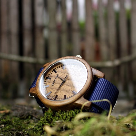Liberty Wood Watch - Walnut Wood Watch, Walnut wood dial, Blue Canvas Strap