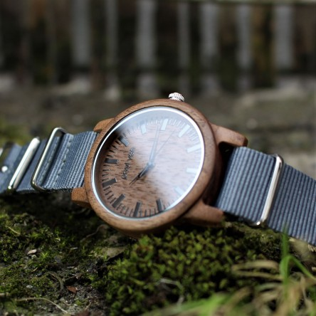 Liberty Wood Watch - Walnut Wood Watch, Walnut dial, Grey Canvas strap