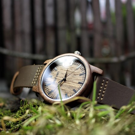 Liberty Wood Watch - Walnut Wood Watch, Walnut Dial With Black, Faux Leather Strap