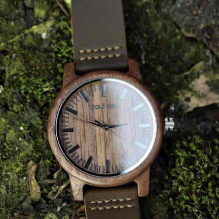 Liberty Wood Watch - Walnut Wood Watch, Walnut Dial, With Full Wooden Strap