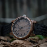 Liberty Wood Watch - Walnut Wood Watch, Walnut Dial + Braided Leather Strap