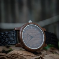 Liberty Wood Watch - Walnut Wood Watch, Walnut Dial + Braided Leather Strap